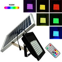 Wholesale Newest LED SMD5050 RGBW Remote Control V W Solar Panel Power LED Floodlight Outdoor Landscape Garden Spotlight