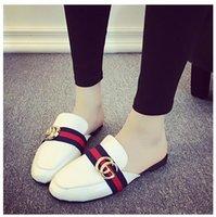 achat en gros de gros dames pantoufles-Grossiste-Mode Femmes Vert Escarpins Designer respirant Half Loafers Casual Chaussures plates Ladies PU Sandales en cuir sandalias mujer 135