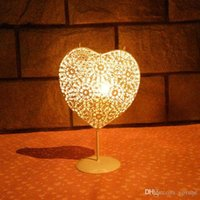 Wholesale Hollow out love style wrought iron candlestick Creative and romantic European storm lantern handicraft furnishing articles
