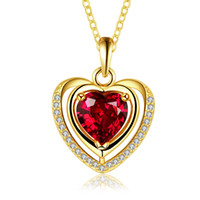 Wholesale Lover Couple Romantic Jewelry Gift Rose Gold Plated Heart Necklace women girls Rhinestone red blue Crystal necklaces pendants
