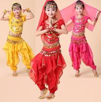 belly girl - 4pcs set Handmade Child Kids Children Girl Belly Dance Costumes Tribal Indian Dance Girls Performance Dancewear Egypt Belly Dance Costume