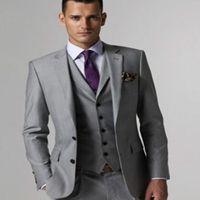 Pant Suit light worsted - Groom Tuxedos Groomsmen Custom Made Light Grey Side Vent Slim Fit Best Man Suit Wedding Men s Suits Bridegroom Jacket Pants Tie Vest