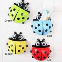 Wholesale Cartoon Cute Ladybug Sucker Toothbrush Holder suction Hooks Household Items toothbrush rack bathroom sets