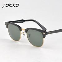 al por mayor mejor lente de espejo-Gafas de sol retras calientes del espejo del espejo de la lente de las mujeres de los hombres de las gafas de sol del club de la mejor calidad de AOOKO Lunettes Oculos de 51mm