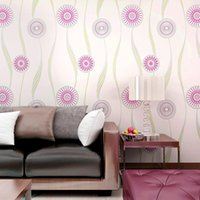 Wholesale Abstract Circle Wallpaper Rolls Hot Pink Black Yellow Floral Wall Covering Wedding Decoration TV Background Bedroom Decor