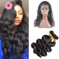 al por mayor bandas para el cabello-Pre Plucked Silk Base 360 Lace Frontal con bultos 9A Brazilian Body Onda Virgen de pelo humano con la tapa de seda 4x4 '' Cierre de banda de encaje
