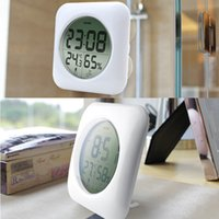 Wholesale Emate Fashion Waterproof Shower Time Watch Digital Bathroom Kitchen Wall Clock Silver Big Temperature and Humidity Display