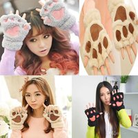 Wholesale Bear paw Gloves New Women Lady Girl Winter Warm Paw Gloves Fingerless Fluffy Bear Cat Plush Paw Glove Mittens
