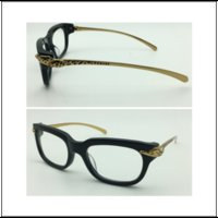Wholesale Hot women men brand design acetate frame gold leg leopord logo brand design eyewear optical with original case