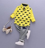 animal print outfits - 2017 Spring New Arrival Children Clothes Whale Printed Shirts Stripe Pants Boys Girls Set Kids Cutie Set Baby Outfit Q0744