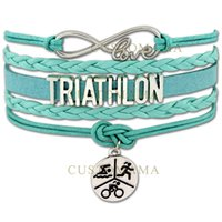best athletes - Custom Infinity Love Ironman Triathlon Bracelet Swimming Cycling Running Best Gift for Triathlon athletes Adjustable Bangles Drop Shipping