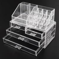 acrylic bathroom organizer - Acrylic Cosmetic Makeup Organizer Jewelry Display Boxes Bathroom Storage Case Pieces Set W Large Drawers