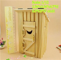 Wholesale BEST SELLING PRETEND PLAY AND DRESS UP Dollhouse Miniature Wood Outhouse Single Double Doll house Furniture CHILDREN OUTDOOR TOYS