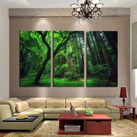 Wholesale 3 Panels Green Forest HD Art Print Painting on High Quality Canvas Modern Home Wall Decor in Multi sizes