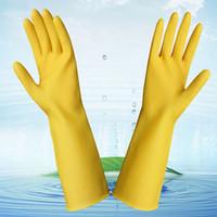 Guantes de goma gruesos impermeables de los guantes del látex de 10pairs / lot para limpiar de trabajo Alcalino antiácido Tamaño anticorrosivo S M L