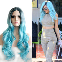 beckham hair - Long Deep Wave Cosplay Hair Synthetic Wigs Victoria Beckham Blue Ombre Color Fashion Side Bang with Free Hair Net