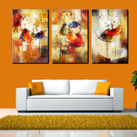 ballet picture frames - 3Panel Pure Hand Painted Modern Abstract Art Oil Painting Ballet Dancer Home Wall Decor High Quality Canvas Multi size