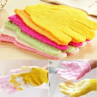 Wholesale New hot sale One Shower Exfoliating Wash Skin Spa Foam Bath Gloves Massage Loofah Scrubber Color Random h661