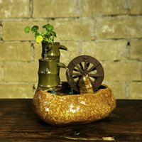 antiques china cabinets - China wind products gifts Desk accessories ceramic water ornaments TV cabinet Feng Shui lucky wheel waterwheel fountain humidifier Ceramic
