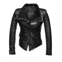 Wholesale 2016 New Fashion Women Winter Sheepskin Sheep Fur Genuine Leather Jackets Lady Motorcycle Red Black Coat Outerwear Hot Sale