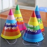 Wholesale Happy birthday hat children Festival birthday party supplies paper ball cap factory direct Rainbow Group