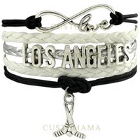 angeles love heart - Custom Infinity Love Los Angeles Hockey Bracelet Kings Hockey Fans Silver Black White Wax Leather Bracelet Custom