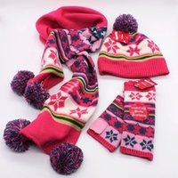 Wholesale Wholesales Sets Jacquard three piece suite knitting scarf hat gloves Children winter scarf hat two piece children s crochet hat