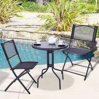 Wholesale 3 Bistro Set Garden Backyard Table Folding Chairs Outdoor Patio Furni
