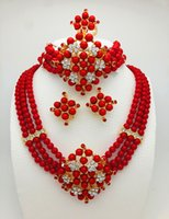africa crystal - Jewelry set K gold fashion Nigeria red beads wedding jewelry set in Africa jewelry necklace bracelet clip earrings fancy South Africa