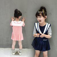 Spring / Autumn Knee-Length Cotton Blends New Spring Baby Girl Dress Full Navy Style Vestidos Cute Toddler Girls Costume