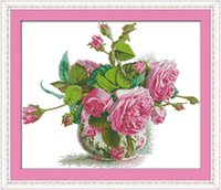 Wholesale 14CT CT Joy Sunday hand made cross stitch Romantic pink rose Needlework embroidery cross Stitch sets Home Decoration