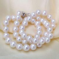 achat en gros de rose verre de mer-Collier de perles en verre élégant Lady String 8-9mm REAL SOUTH SEA PINK PEARL COLLIER 18 POUCES 14k GOLD CLASP Bijoux en chaîne à chaîne courte