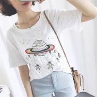 Vente en gros d'été nouvel arrivage 2016 Simple frais tee spaceships imprimer casual t shirt femmes loose tops harajuku à manches courtes Vêtements pour femmes