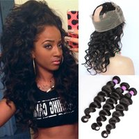 Wholesale 9A Lace Frontal Closure With Bundles Malaysian Virgin Human Hair Loose Deep Wave With Full Frontal Band Natural Hairline