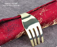 Wholesale new arrival towel ring fork shaped the gold napkin circle metal napkin ring for wedding