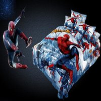 Wholesale 100 Cotton Cartoon D Superman Spiderman Twin Queen King Size Bedding set For Boys Duvet Cover Bed Sheet