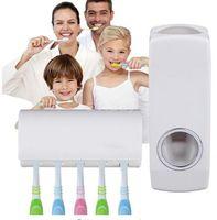 Wholesale Tidy Creative home decro Bathroom Accessories Wall Mount Rack Automatic Toothpaste Dispenser Toothbrush Holder salle de bain
