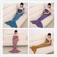 Wholesale 140x70cm Children Fashion Knitted Mermaid Tail Blanket Super Soft Warmer Blanket Bed Sleeping Costume Air condition Knit Blanket JF