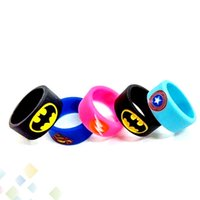america ring - Vape Band Silicone Rings with Superman Batman Flash Captain America Logo Colorful Rubber Rings fit RDA RTA Atomizer Mods DHL Free
