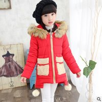 Wholesale 2016 New Children s Clothing Hairball Parkas Girls winter Patchwork ColorS Zipper Thick Padded Leisure Size110 ly119