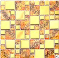 Wholesale Glass mosaic plating gold mirror background wall tile mosaic gold bar entrance waist tiles