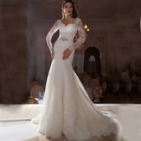 Wholesale 2016 Gorgeous wedding dresses Long Sleeves diamond Sash Mermaid Wedding Dresses Stunning Crystal Bridal Dresses Sexy V neck Wedding dress