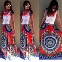 Acheter Bohême plissé jupe longue-2015 Mode Nouveau Casual Eté Bohême Femmes Plissé Boho Floral Imprimer Plage Maxi Fleur Élastique Taille Longue Jupe Longue
