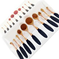 Wholesale pro Toothbrush Shape Oval Makeup Brush Foundation Powder Eyebrow Make up Brushes Beauty Tools ROSE Gold black set