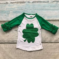 baby boy boutique clothing - baby girls boy St Martin s day heart Shamrocks print cotton boutique top T shirt clothing green kid spring wear long sleeve
