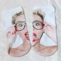 Women Poly,Polyester 19cm Wholesale- Women Girl Funny Harajuku character socks 3d Miley Cyrus Digital Print Women Men Funny Anklet Socks