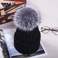 Wholesale 2016 Knitted Hats for The Winter with CM Silver Fox Fur Ball Tops Women Acrylic Russian Cap Beanies Casual Women s Fur Hat