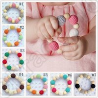 Wholesale Teether Bracelet Infant Wool Ball Beads Ins Wooden Teething Training Nursling Toys Baby Tooth Circle Ring Teeth Bite OOA1100
