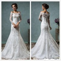 Wholesale 2016 New Sexy Vintage Bateau Long Sleeves Mermaid Full Lace Wedding Dresses Off The Shoulder Detachable Bridal Gowns