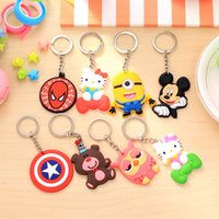 Wholesale 20 Models Phone Accessories Cartoon Rings Trinket Soft PVC Keychain Minions Marines Key Holder Key Chains Finder Souvenirs Kids Gift